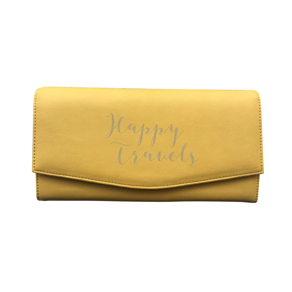 Bombay Duck - Happy Travels - Sunshine Yellow/Gold Travel Wallet - Printed Faux Leather