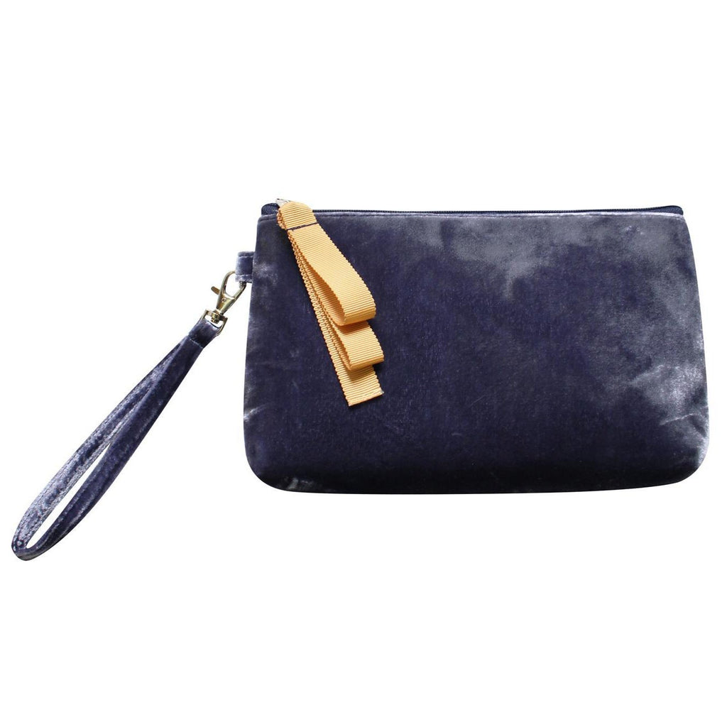 Earth Squared - Velvet Clutch Bag/Purse - Navy Blue - 23 x 13 x 5cms