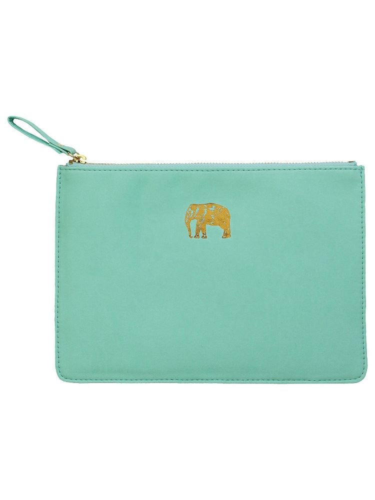 Sky & Miller - Faux Leather Soft Zipped Padded Pouch - Elephant - Turquoise/Gold - 15x22cms