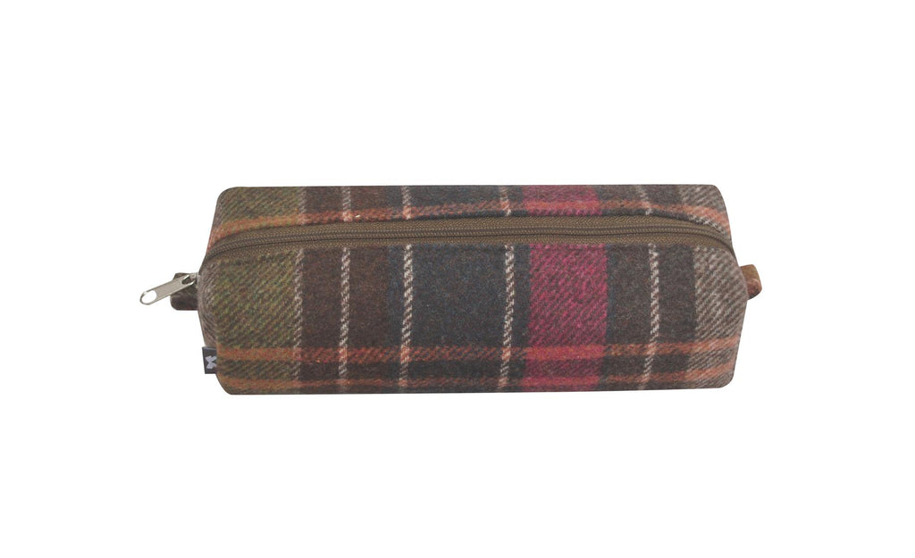 Earth Squared - Pencil/Make Up Brush Case - Tweed Wool - Pewter - 18x6x6cms