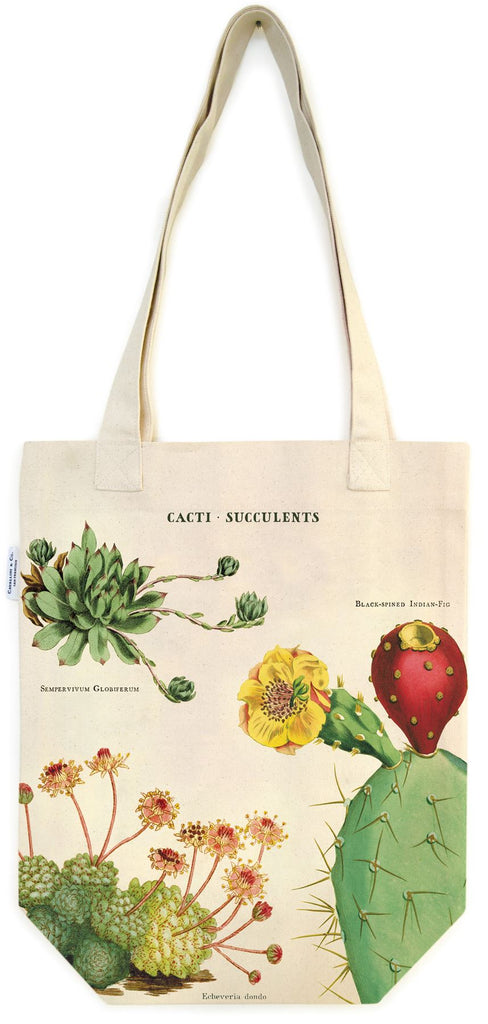 Cavallini - 100% Natural Cotton Vintage Tote Bag - 33x40.5cms - Cactus/Cacti/Succulents