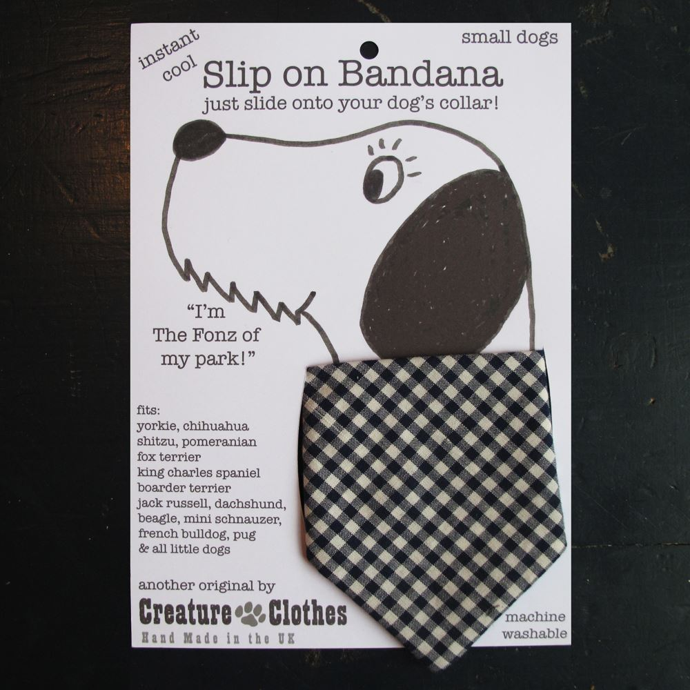 Creature Clothes - Slip on Bandana - Blue Gingham - Available in 2 Sizes - Handmade in the UK