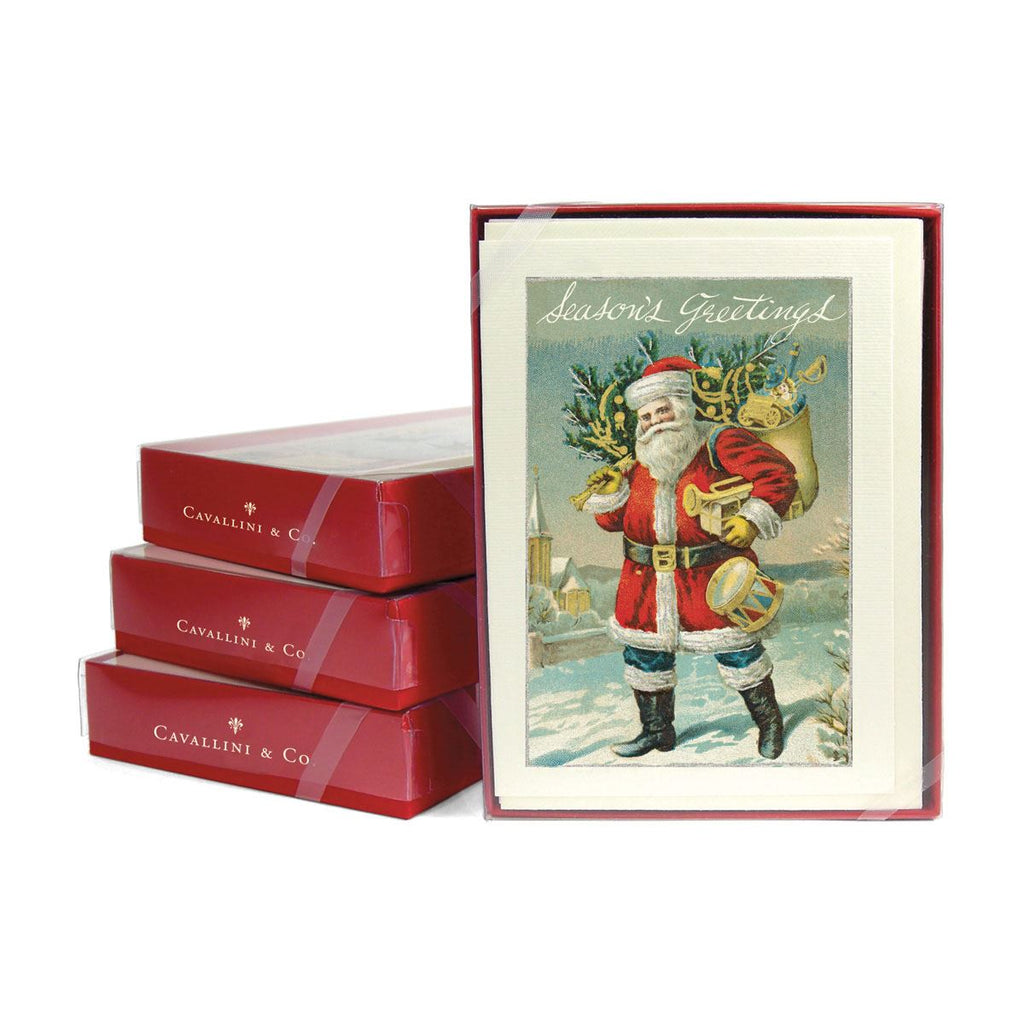 Cavallini - 10 x Glitter Greetings Christmas Cards/Notes - Santa Delivering Presents