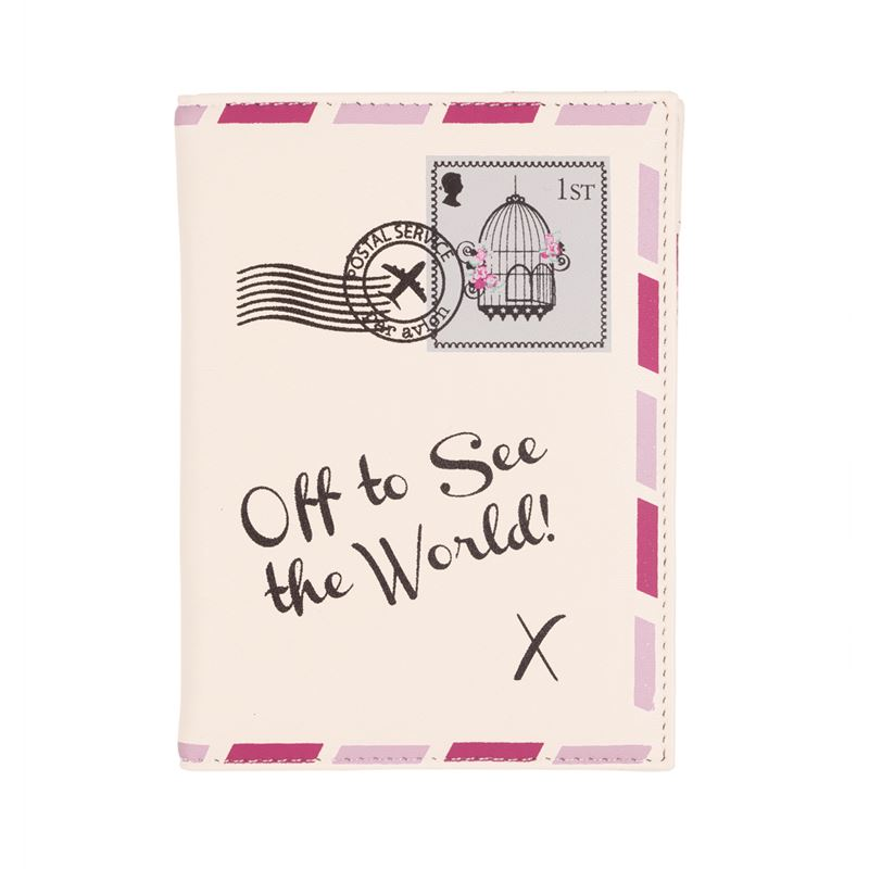 Bombay Duck - Vintage Letter - Off To See The World - Cream Passport Holder/Cover- Printed Faux Leather