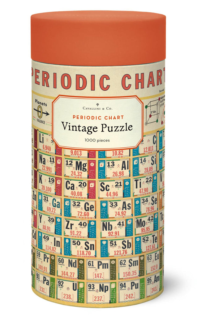 Cavallini - Vintage Jigsaw Puzzle - 1000 Pieces - 55x70cms - Periodic Chart Of The Elements
