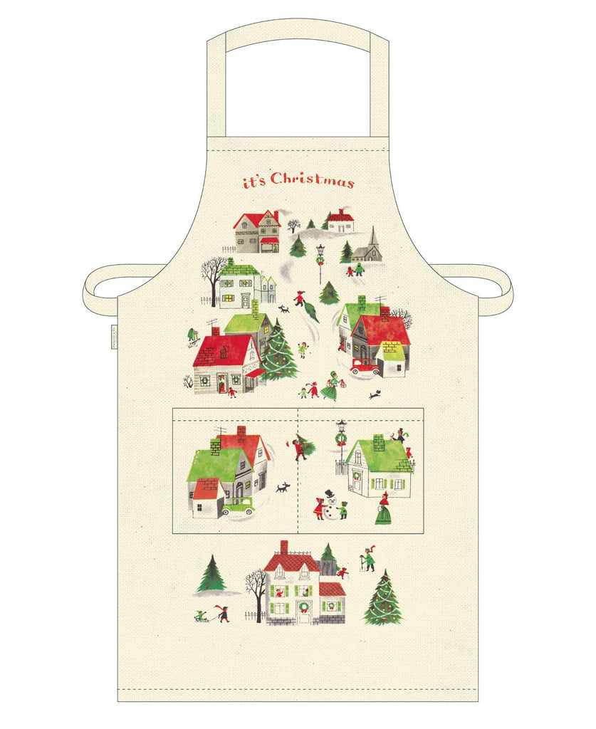 Cavallini - 100% Natural Cotton Vintage Apron - 48x80cms - Vintage Christmas Village