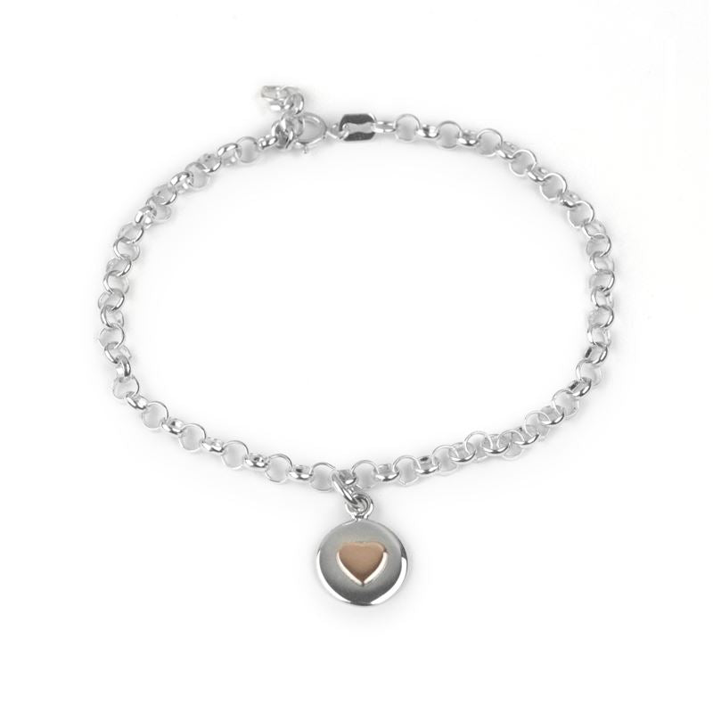 Sterling Silver - Love Circle Bracelet - Rose Gold Heart - Tales From The Earth