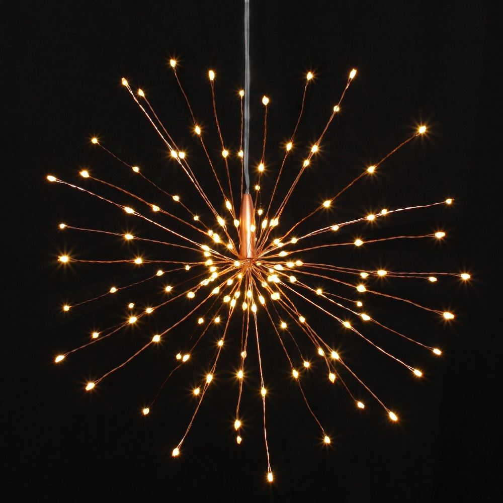 Copper Starburst - 30cms - 120 LED Indoor/Outdoor Lights w/Built In Timer - Battery Powered