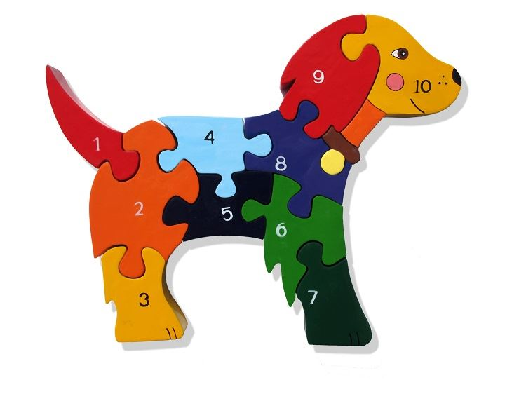 Dog 1-10 Number Jigsaw Puzzle - Chunky, Bright & Educational - 23x19cms
