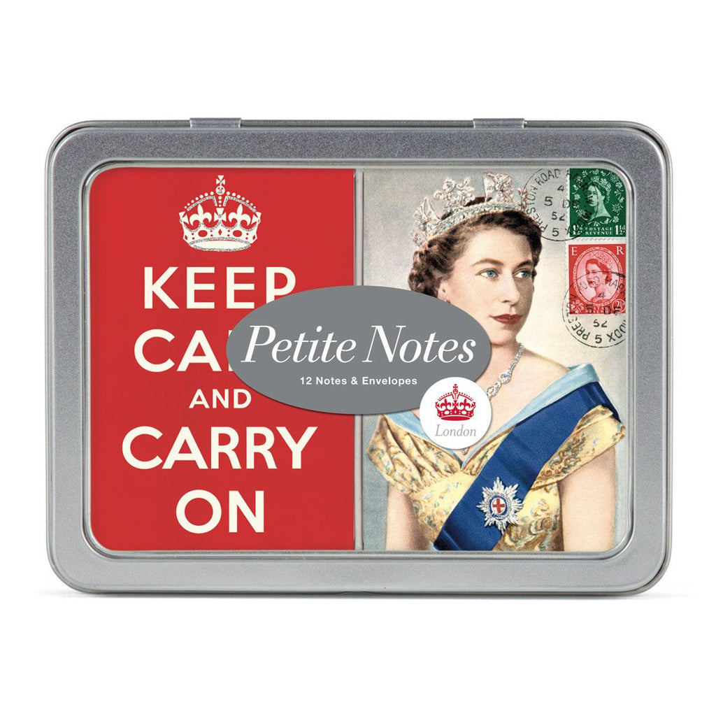 Cavallini - Tin of Glittered Petite Notes - 2 Designs - 12 Cards - London