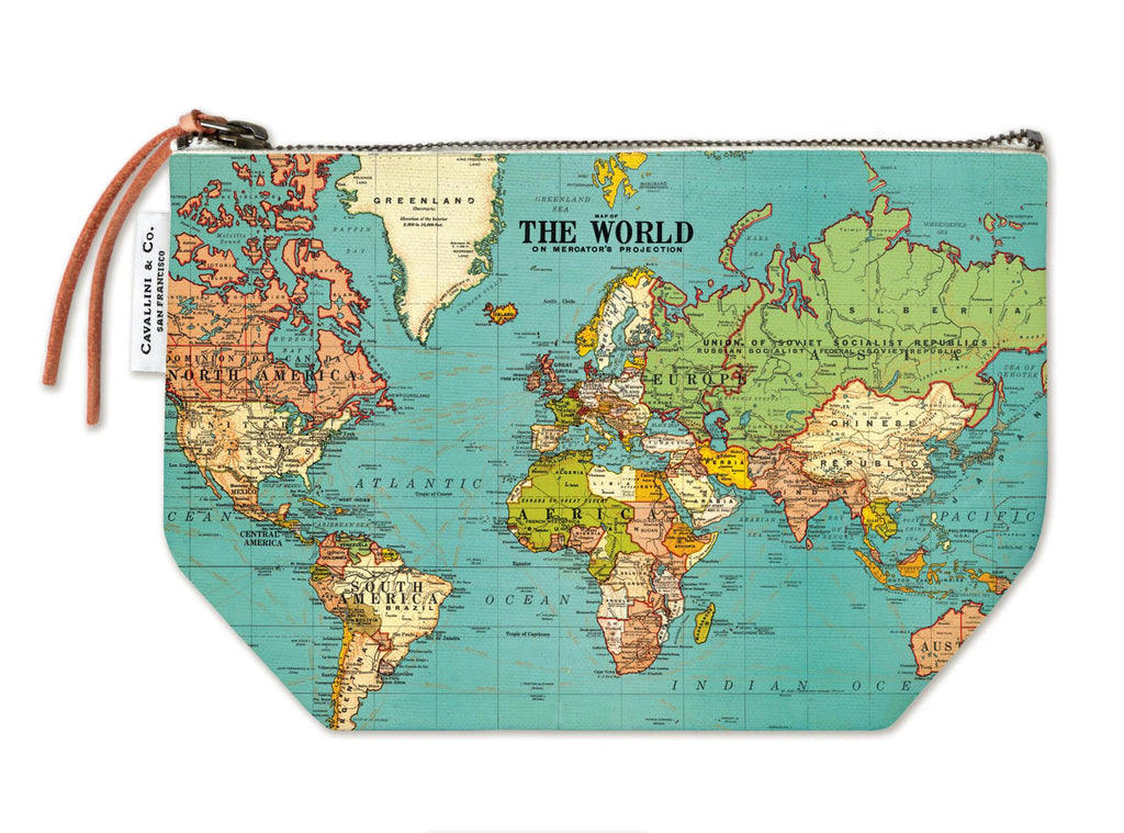 Cavallini - 100% Natural Cotton Vintage Pouch Bag - 15x22cms - World Map