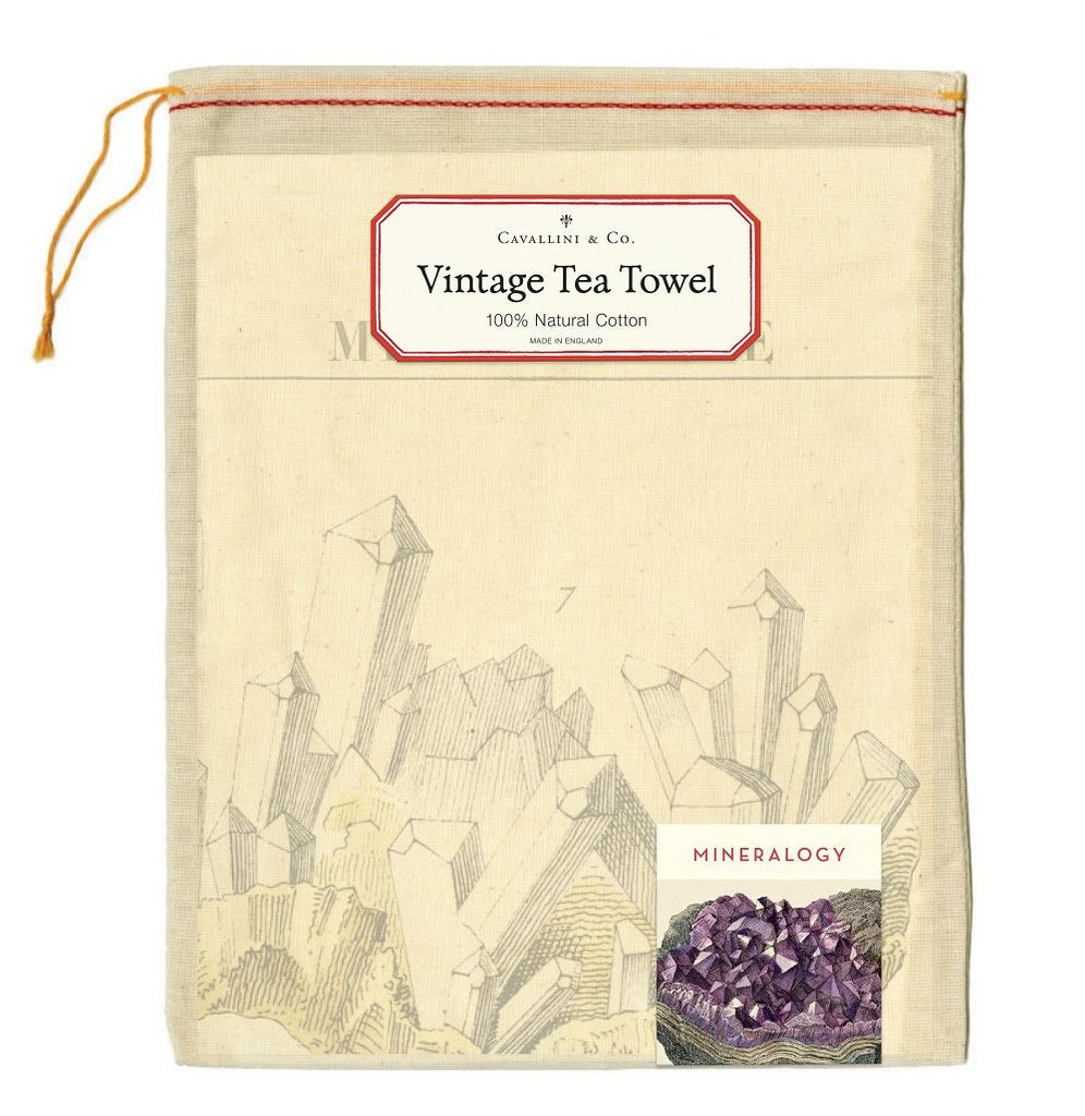 Cavallini - 100% Natural Cotton Vintage Tea Towel - 80 x 47cms - Mineralogy