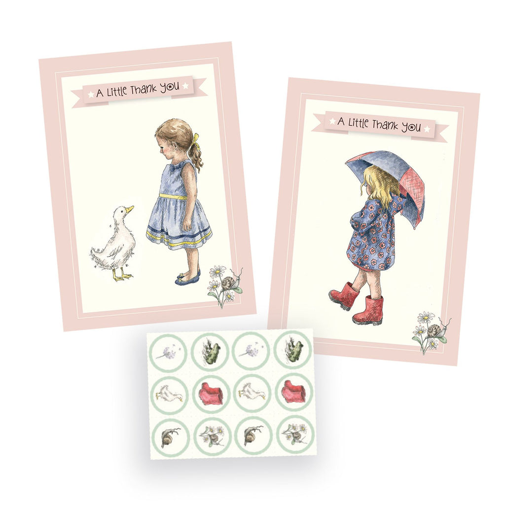A Little Thank You - Girls - Snails & Pigtails - 8 Notecards, Envelopes & Stickers