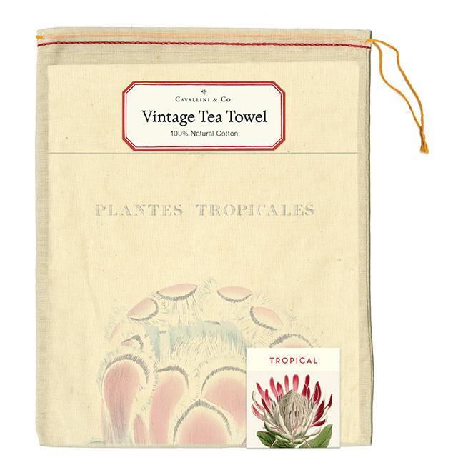 Cavallini - 100% Natural Cotton Vintage Tea Towel - 80 x 47cms - Tropical Plants
