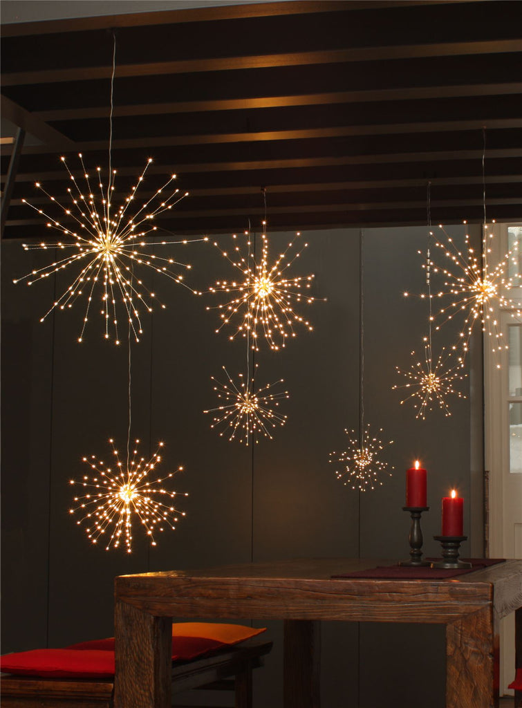 Silver Starburst - 50cms - 200 LED Indoor/Outdoor Light Ornament - Mains Powered
