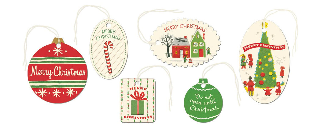 Cavallini - Tin of 36 Glittered Gift Tags - Vintage Christmas Gift Tags (CHRVIN2)