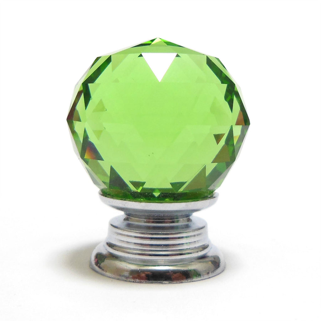 Cut Crystal Glass Faceted Ball Cupboard/Drawer Door Knob - Green - 30mm