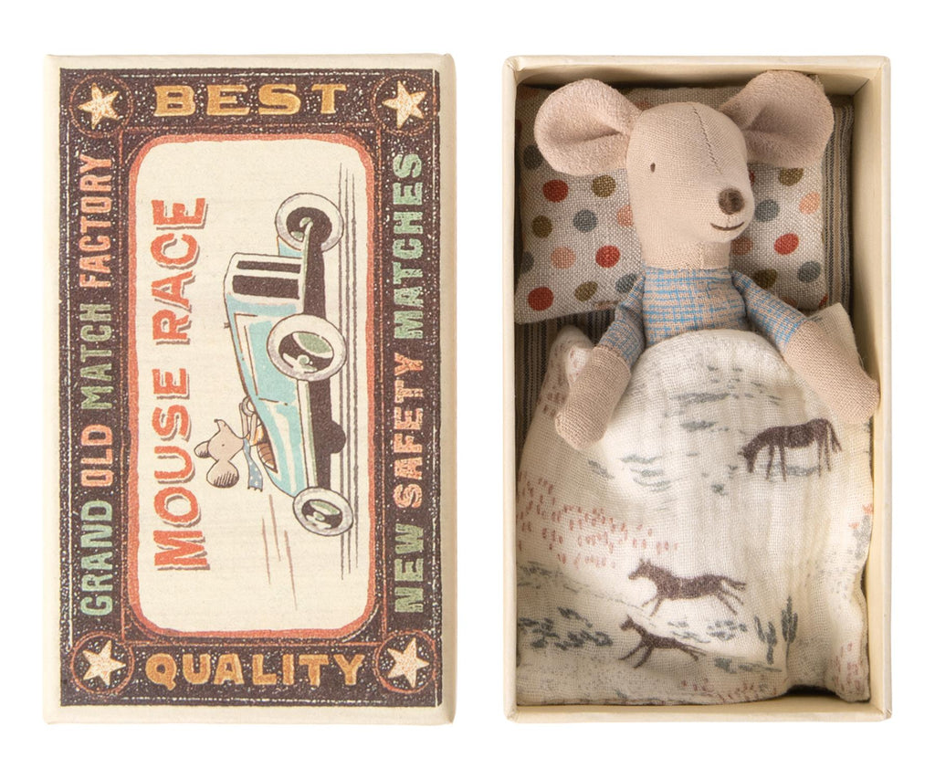 Maileg - Little Brother - Matchbox Mouse - Blue Shorts - Boxed With Bedding