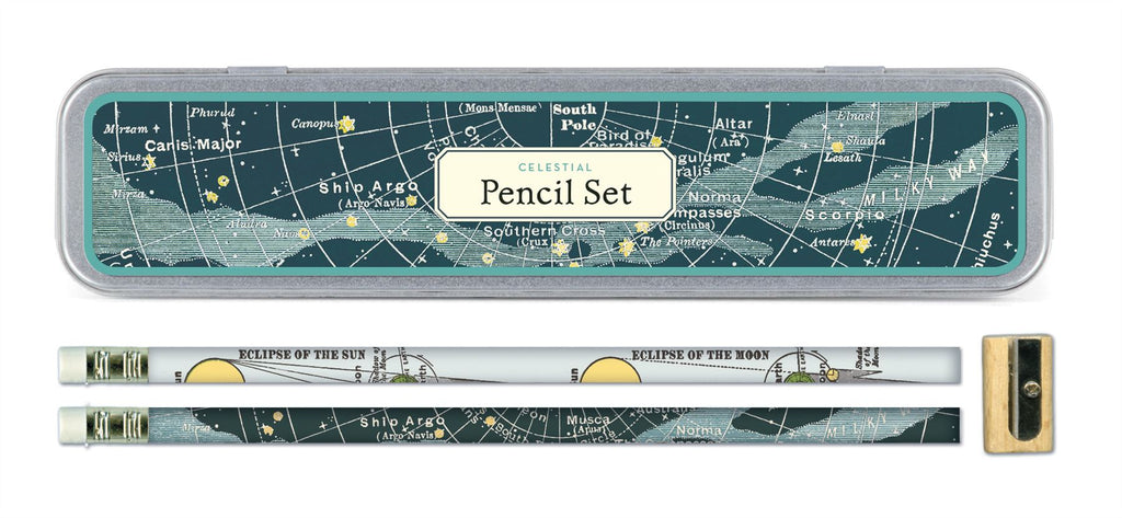 Cavallini - Tin of Pencils - Celestial - 10 Pencils/2 Designs, & Sharpener