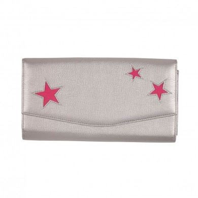 Bombay Duck - Starlight - Silver & Fuchsia Pink Travel Wallet - Printed Faux Leather