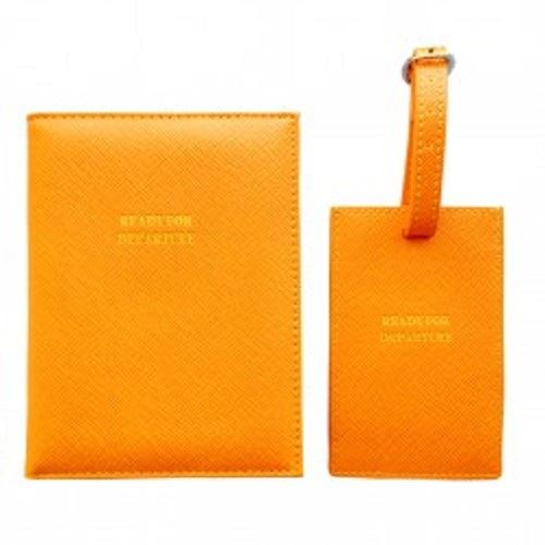 Bombay Duck - Ready For Departure - Orange Passport Holder/Cover & Luggage Tag Set - Printed Faux Leather