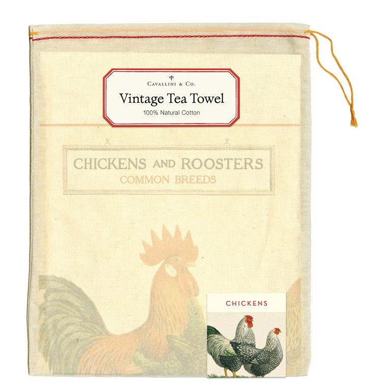 Cavallini - 100% Natural Cotton Vintage Tea Towel - 80 x 47cms - Chickens & Roosters