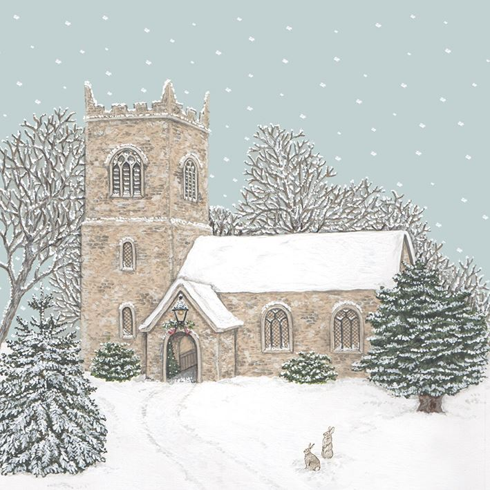 Country Church at Christmas - Christmas Card Box Set - 8 Luxury Cards & Envelopes - Sally Swannell