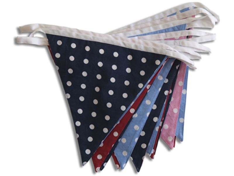 100% Cotton Bunting - Multi-Coloured Spotty Dotty - 10m/33 Double Sided Flags