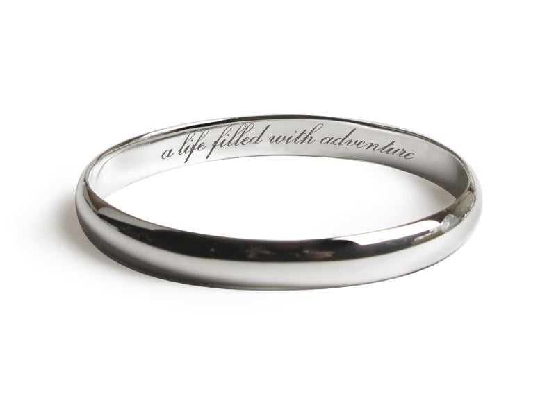Message Bangle - Adventure - Rhodium Plated - Tales From The Earth - Presented In Pale Blue Gift Box