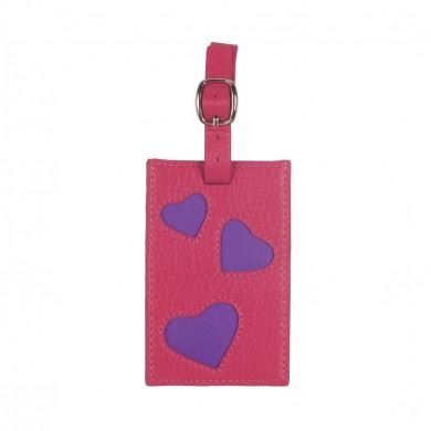 Bombay Duck - L'Amour - Fuchsia Pink & Purple Luggage Tag - Printed Faux Leather