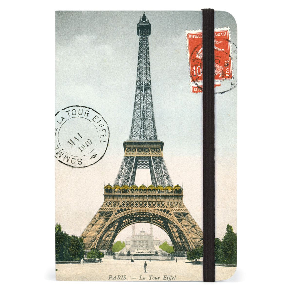 Cavallini - Small Lined Pocket Notebook 4x6ins - Paris Eiffel Tower - 256 Pages With Elastic Enclosure