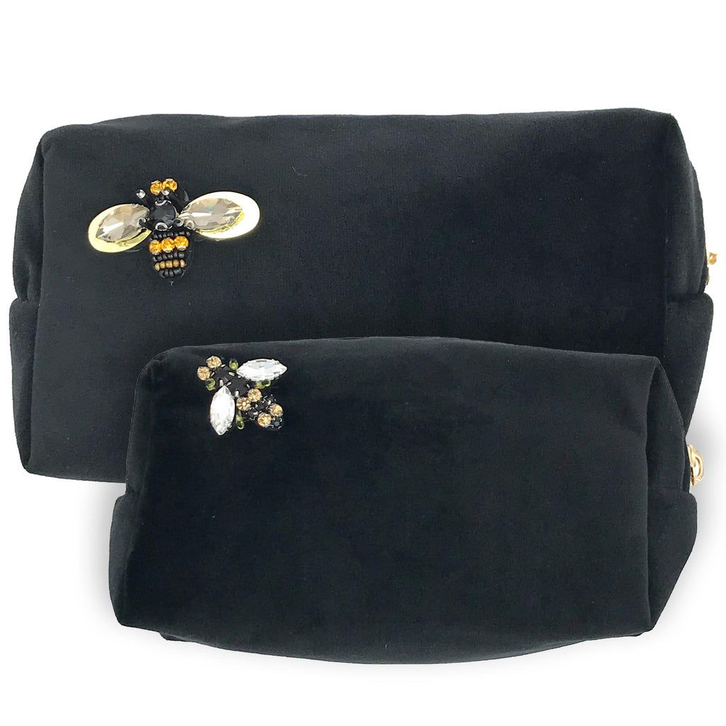 Black Velvet Make-Up Bag & Bumblebee Pin - Sixton London - Small or Large