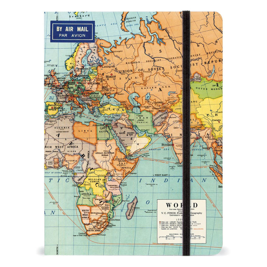 Cavallini - Large Lined Notebook 6x8ins - World Map - 144 Pages With Elastic Enclosure