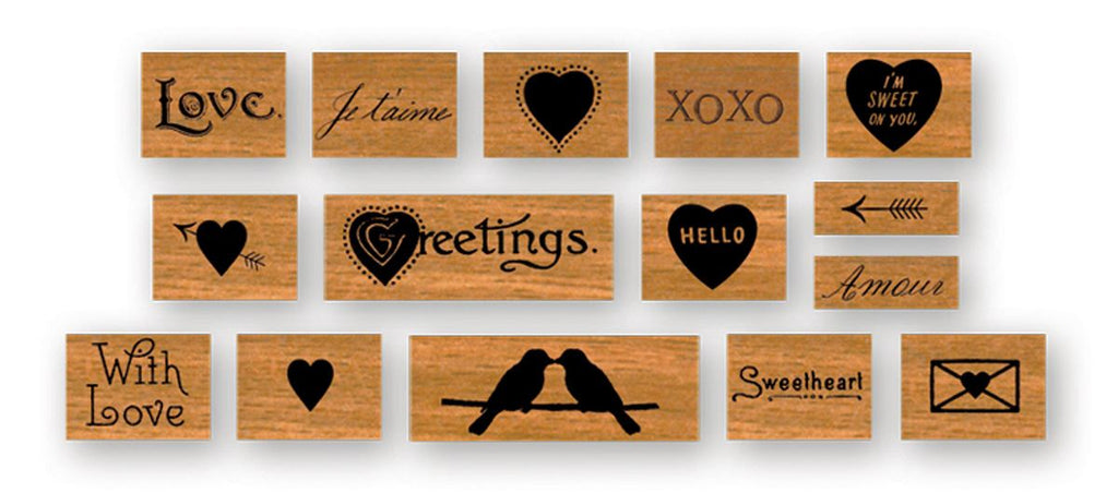 Cavallini - Tin of Rubber Stamps - Mini - Love - Set of 15 Stamps