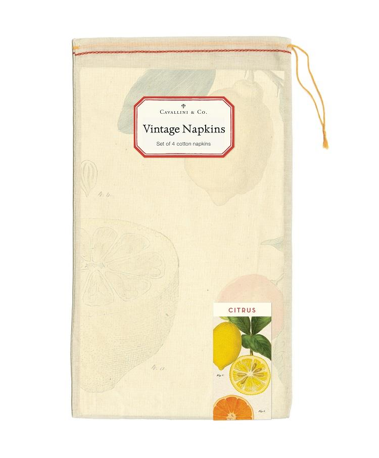 Cavallini - Set of 4 100% Cotton Vintage Napkins - 48x48cms - Citrus Fruits