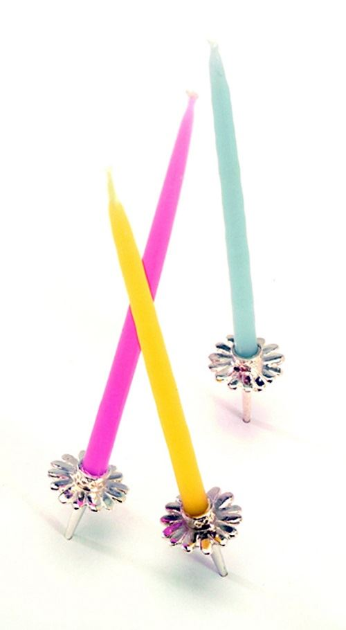 Vivi Celebrations - Silver Plated Cake Candle Holder - Sold Individually - Daisy