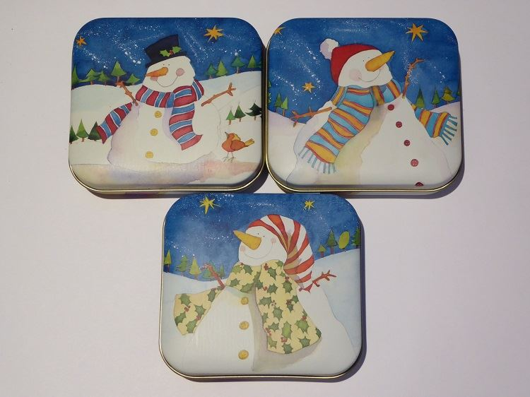 Emma Ball - Square Hinged Treat Tin - 3 Christmas Snowman Designs To Choose From - Perfect Stocking Filler