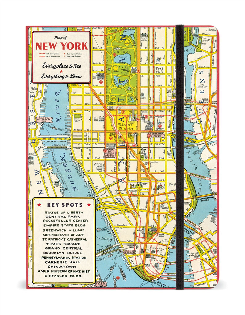 Cavallini - Large Lined Notebook 6x8ins - New York City Map - 144 Pages With Elastic Enclosure