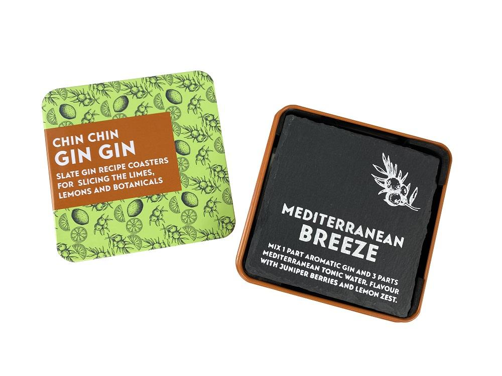 Apples To Pears - Gift In A Tin - Chin Chin Gin Gin - 4 x Slate Gin Recipe Coasters