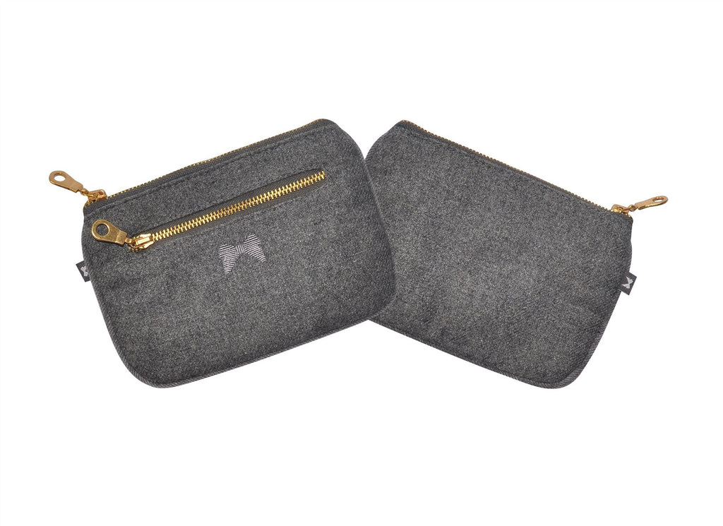 Earth Squared - Juliet Purse - Plain Wool - Grey - 17.5x12cms