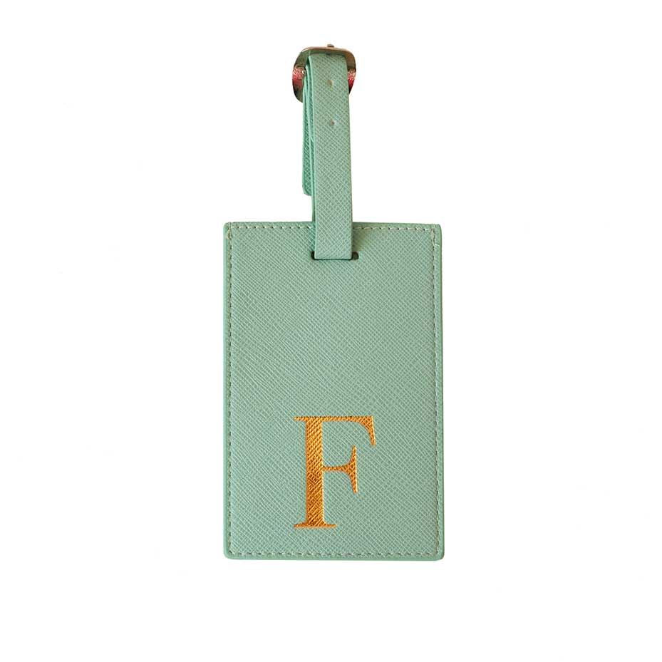 Bombay Duck - Monogrammed Alphabet Luggage Tag With Metallic Letter - A to Z