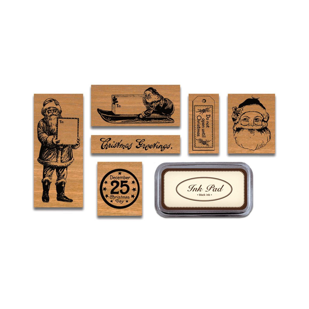 Cavallini - Tin of 6 Rubber Stamps - Vintage Christmas HOLVIN - Black Ink Stamp Pad Included