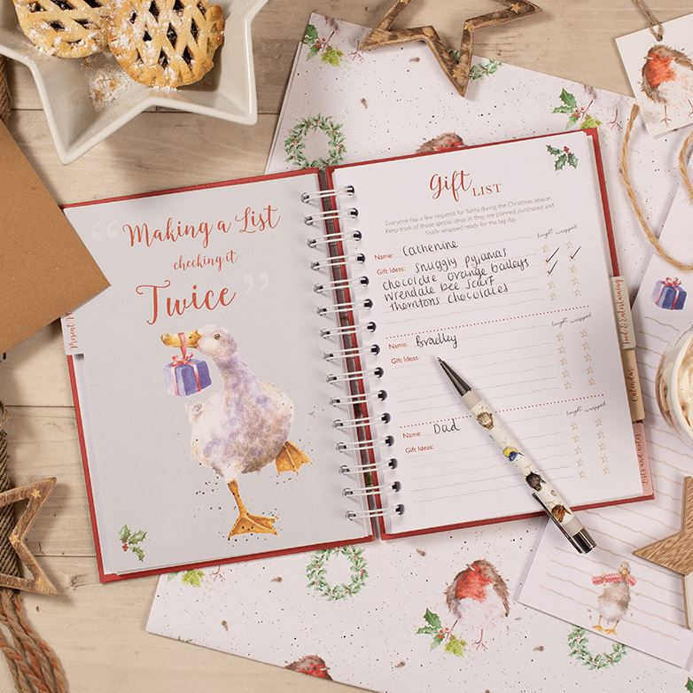 Christmas Planner - Hardback Spiral Bound Tabbed Planning Journal - Wrendale Designs