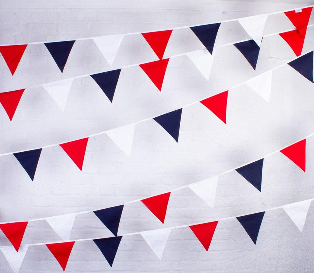 100% Cotton Bunting - Red, White & Blue - 10m/33 Double Sided Flags - The Cotton Bunting Company