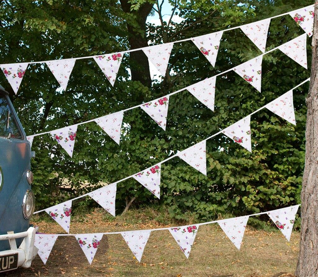 100% Cotton Bunting - Floral Cottage - 10m/33 Double Sided Flags