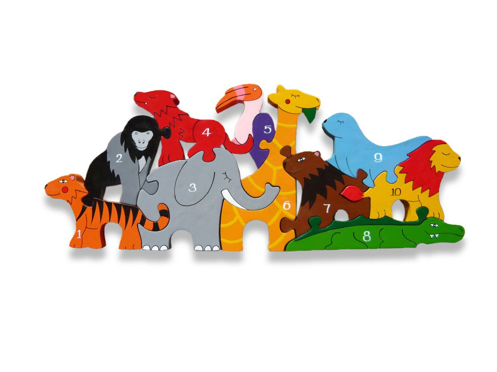 Number Zoo - 1-10 Number Jigsaw Puzzle - Chunky, Bright & Educational - 38x15cms