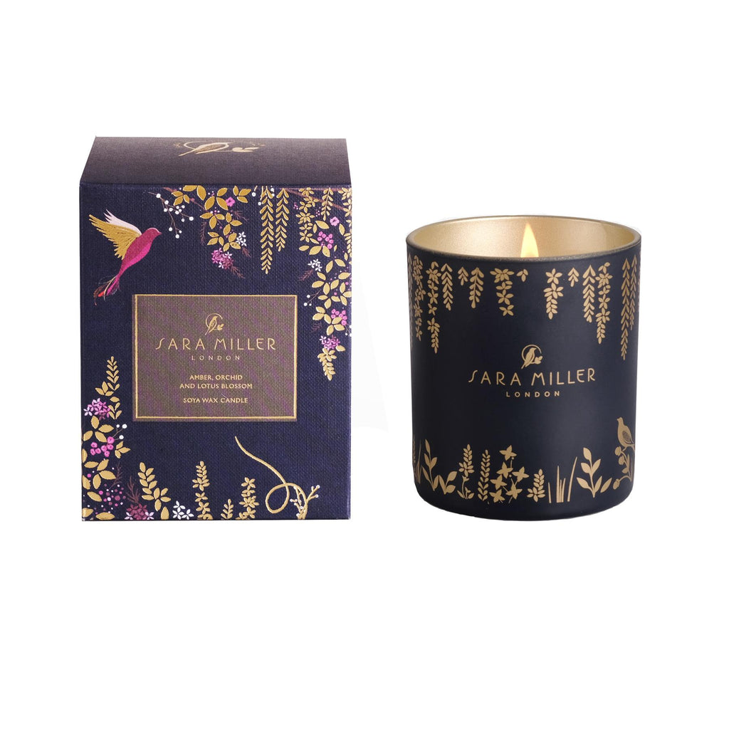 Sara Miller - Soya Wax Candle 240g/60hrs Burn Time - Amber, Orchid & Lotus Blossom