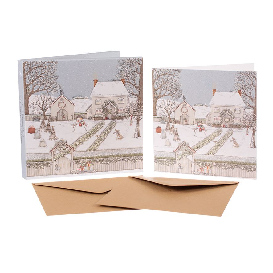 Snowy Garden - Christmas Card Box Set - 8 Luxury Cards & Envelopes - Sally Swannell