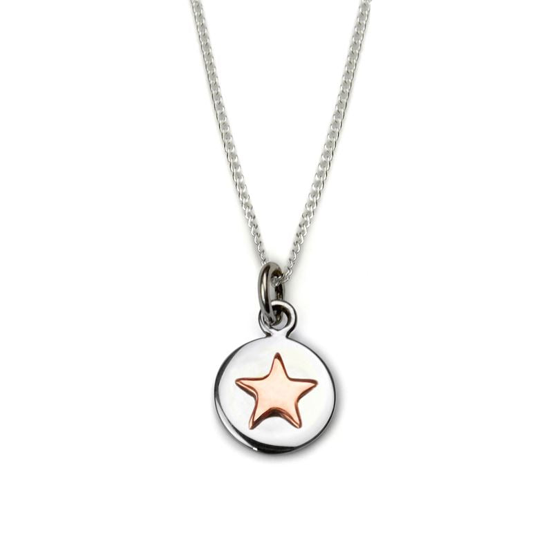 Sterling Silver - Good Luck Circle Necklace - Rose Gold Star - Tales From The Earth