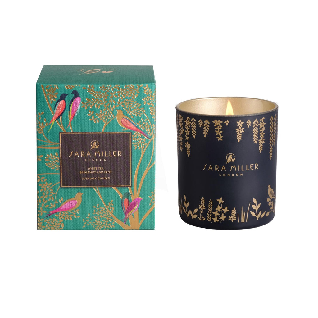 Sara Miller - Soya Wax Candle 240g/60hrs Burn Time - White Tea, Bergamot & Mint